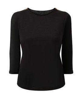 black-zip-shoulder-3_4-sleeve-top by new-look