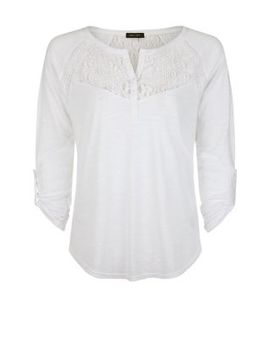 white-lace-panel-grandad-collar-top by new-look
