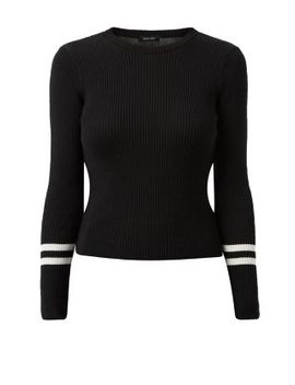 black-ribbed-striped-trim-sleeve-jumper by new-look