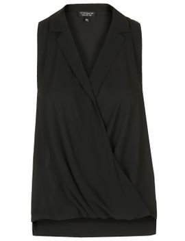 sleeveless-drape-front-blouse by topshop