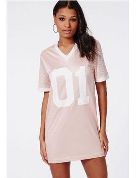 satin-number-1-basketball-t-shirt-dress-pink by missguided