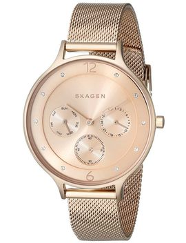 skagen-womens-skw2314-anita-rose-gold-tone-stainless-steel-watch-with-mesh-bracelet by skagen