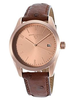 swiss-legend-peninsula-rose-gold-tone-dial-brown-genuine-ostrich by swiss-legend