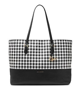 voyage-gingham-colorblock-leather-large-tote by dvf