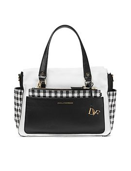 voyage-gingham-colorblock-leather-satchel-bag by dvf