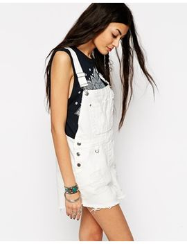 asos-festival-denim-dungaree-short-in-white-with-raw-hem by asos-collection