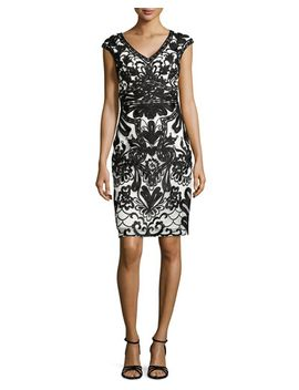 cap-sleeve-lace-embroidered-sheath-dress by sue-wong