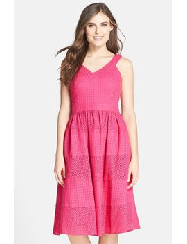 eyelet-cotton-fit-&-flare-dress by donna-morgan