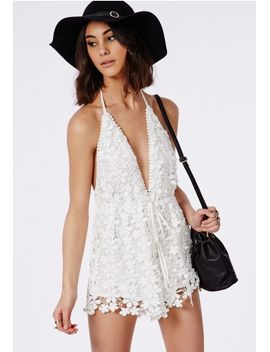 lace-halterneck-drawstring-romper-white by missguided