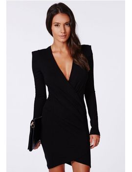 amaline-cross-over-tailored-dress-in-black by missguided