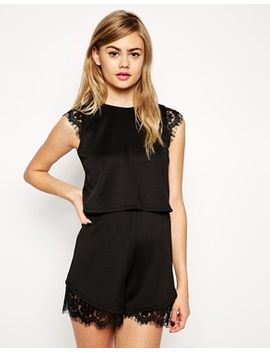 asos-scuba-romper-with-double-layer-and-lace-insert by asos-collection