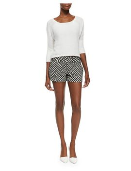terry-boat-neck-knit-top-&-cady-printed-structured-shorts by alice-+-olivia