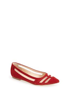 cerise-pointy-toe-leather-ballet-flat by isolÁ