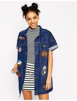 kuccia-short-sleeve-longline-denim-jacket-with-kawaii-logo-sequin-patches by kuccia