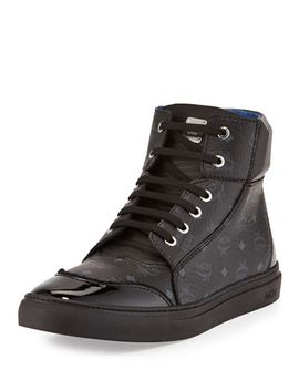 leather-high-top-sneaker,-black by mcm