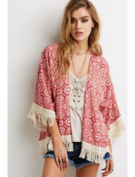 abstract-tile-fringe-trimmed-kimono by forever-21