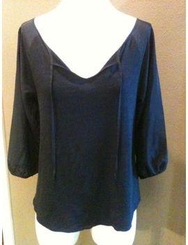 lucky-brand-sz-s-boho-chic-top_blouse-black-3_4-sleeves-tie-neckline-nice! by ebay-seller