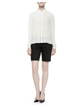 perforated-long-sleeve-silk-blouse-&-twill-bermuda-shorts by alice-+-olivia