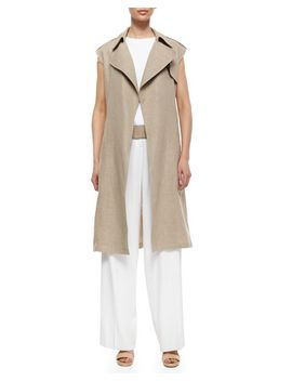 jiliya-long-linen-vest,-mowita-flax-trim-crepe-top-&-onark-pleated-wide-leg-crepe-pants by theory