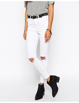 asos-ridley-skinny-ankle-grazer-jeans-in-white-with-rip-and-destroy-busts by asos-collection