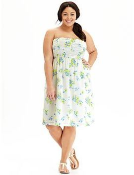 womens-plus-floral-strapless-dresses by old-navy