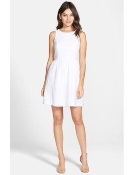 sleeveless-eyelet-cotton-fit-&-flare-dress by kensie
