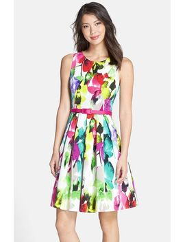 belted-print-faille-fit-&-flare-dress by eliza-j