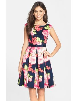 belted-floral-print-fit-&-flare-dress by eliza-j