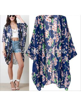 new-2014-autumn-coat-buttonless-retro-flowers-printed-three-quarter-sleeve-outerwear-womens-kimono-blue by ali-express