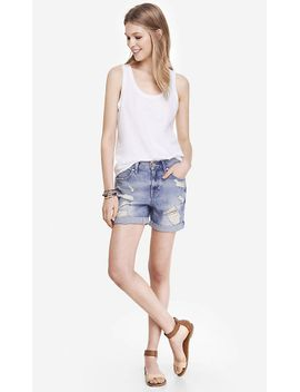 slouchy-destroyed-denim-boyfriend-shorts by express