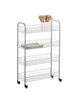 silver-4-tier-slim-rolling-cart by container-store