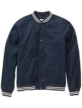 mens-striped-trim-twill-bomber-jackets by old-navy