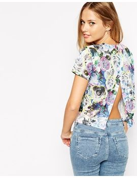asos-textured-floral-top-with-open-back by asos-collection