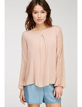 eyelash-lace-paneled-blouse by forever-21