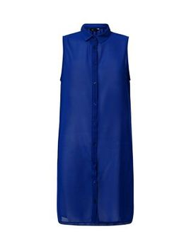 dark-blue-chiffon-sleeveless-longline-shirt by new-look