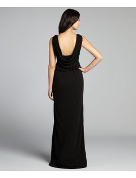 black-embellished-peplum-sleeveless-stretch-jersey-knit-gown by schwartz