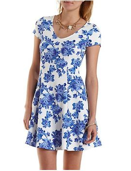 floral-print-skater-dress by charlotte-russe