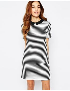 warehouse-striped-contrast-collar-dress by warehouse