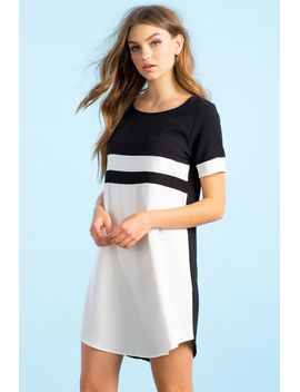 crisp-colorblock-shift-dress by agaci