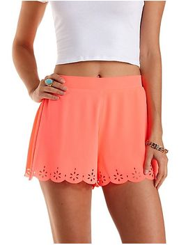 neon-laser-cut-scalloped-shorts by charlotte-russe