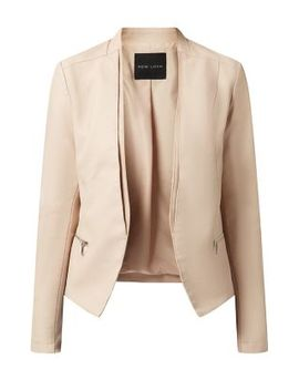 shell-pink-leather-look-blazer by new-look