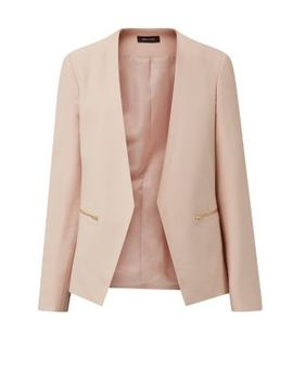 shell-pink-crepe-blazer by new-look