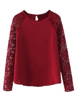 red-lace-sleeve-round-neck-blouse by choies