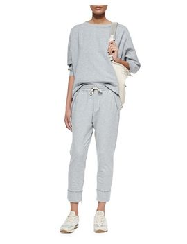 shimmer-trimmed-french-terry-sweatshirt-&-sweatpants,-pearl by brunello-cucinelli