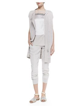 long-ribbed-cap-sleeve-cardigan,-sleeveless-mixed-media-top-&-cropped-pants-w_-tux-stripes by brunello-cucinelli