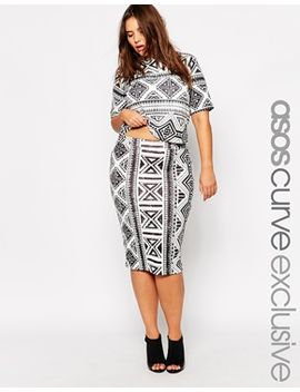 asos-curve-co-ord-pencil-skirt-in-geo-tribal-print by asos-curve