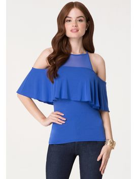 mesh-yoke-cold-shoulder-top by bebe