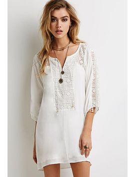 embroidered-mesh-paneled-shift-dress by forever-21