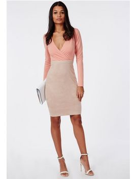 suede-contrast-plunge-midi-dress-pink by missguided