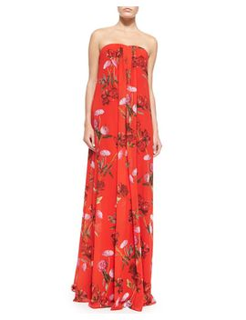daria-strapless-floral-trapeze-gown by erin-erin-fetherston
